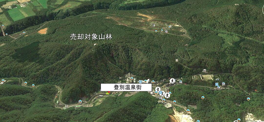 北海道 新登別温泉にある4万5000坪の普通林(緩やかな山林です)